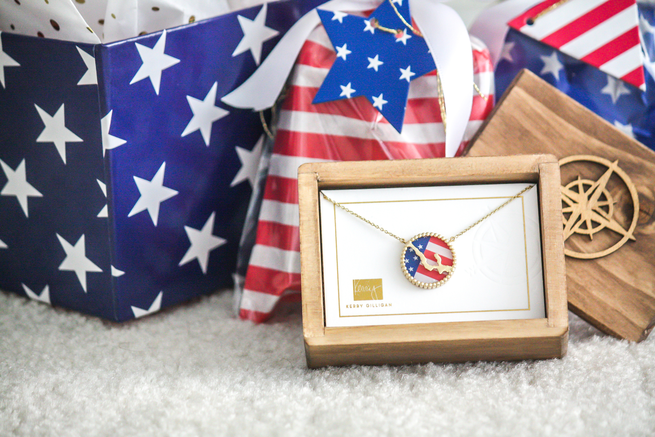 Walloon Lake Interchangeable Necklace by Kerry Gilligan with 4th of July American Flag Insert