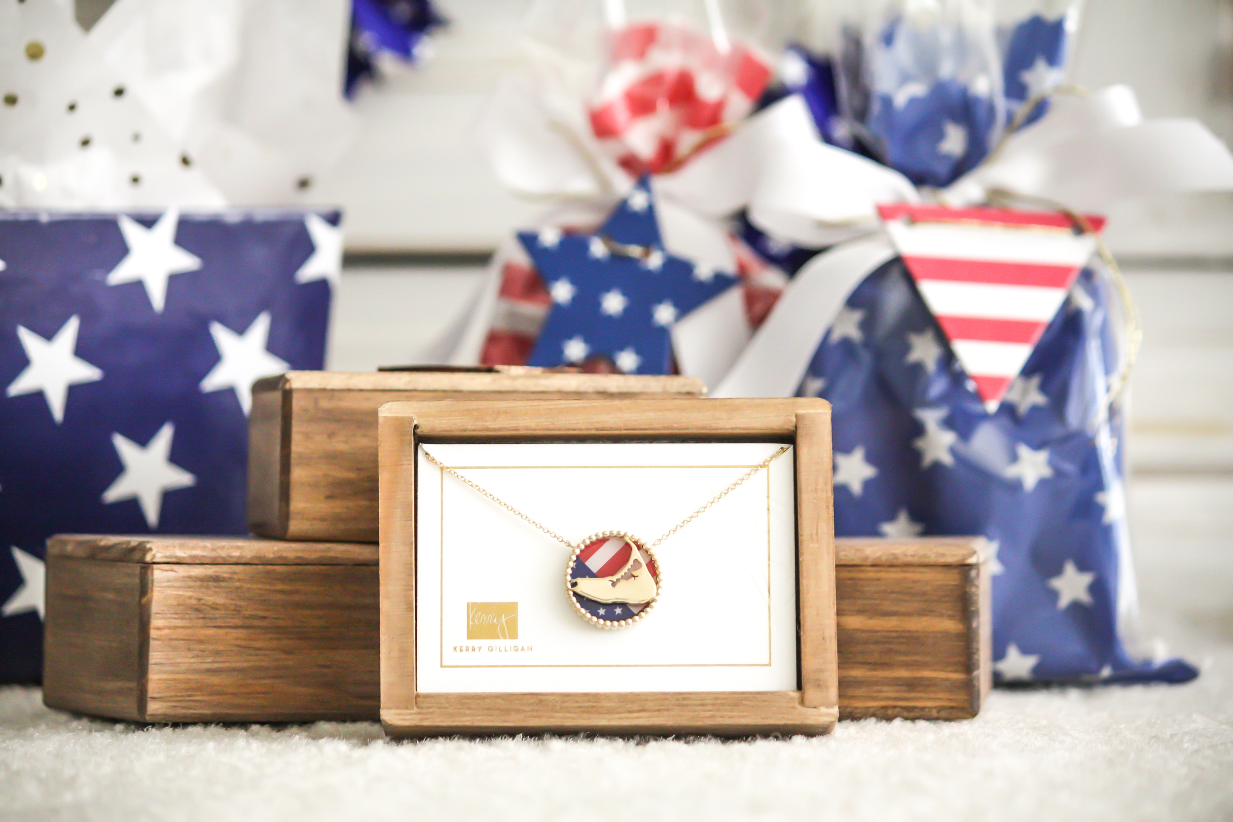 Nantucket Interchangeable Necklace by Kerry Gilligan with 4th of July American Flag Insert