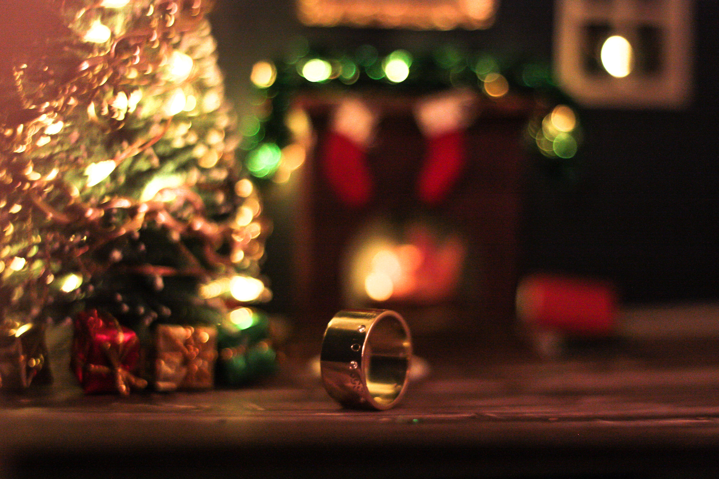 Kerry Gilligan Christmas 2017 - wide coordinates ring in 14k yellow gold
