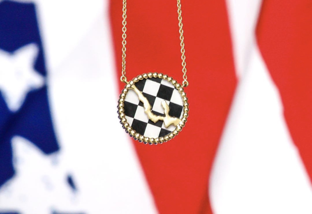 Interchangeable Necklace with Checkered Flag Insert