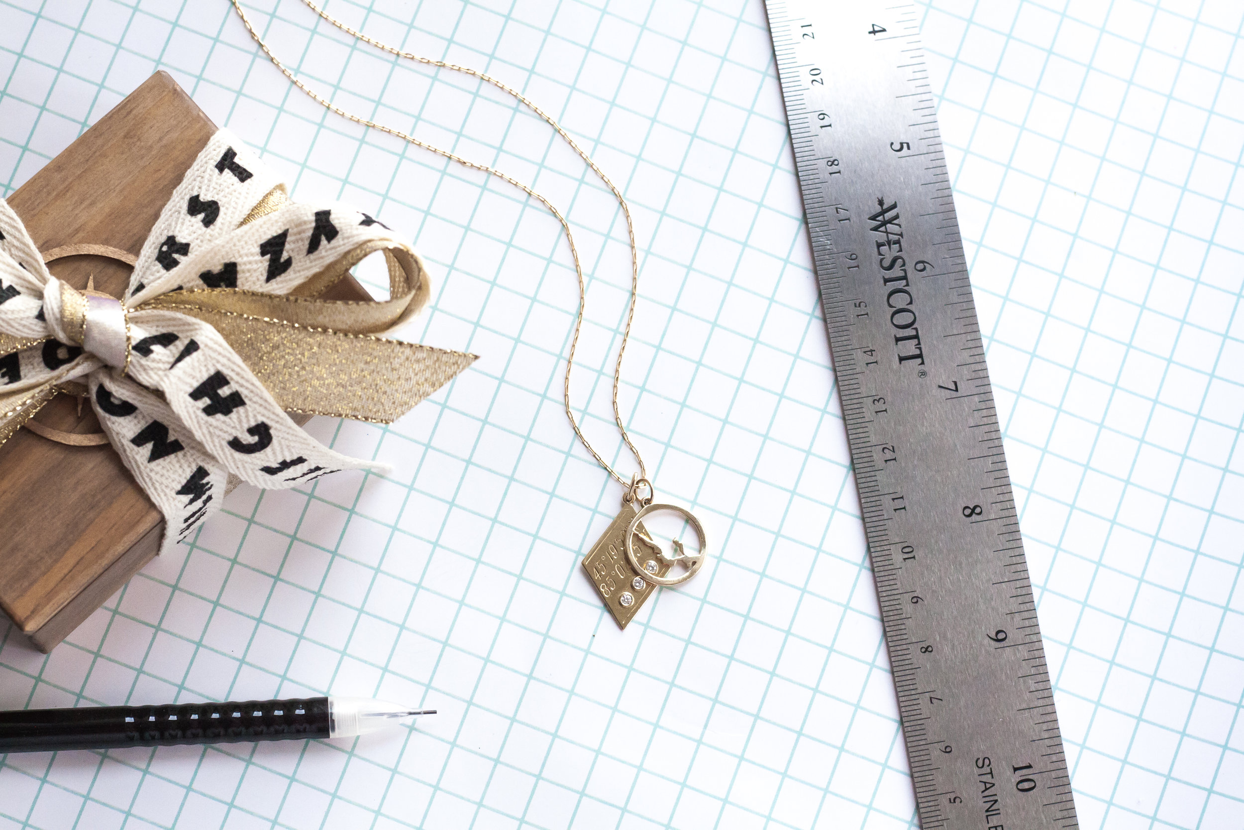 kerry gilligan jewelry back to school walloon lake necklace with custom coordinates pendant 14k yellow gold and diamonds.jpg