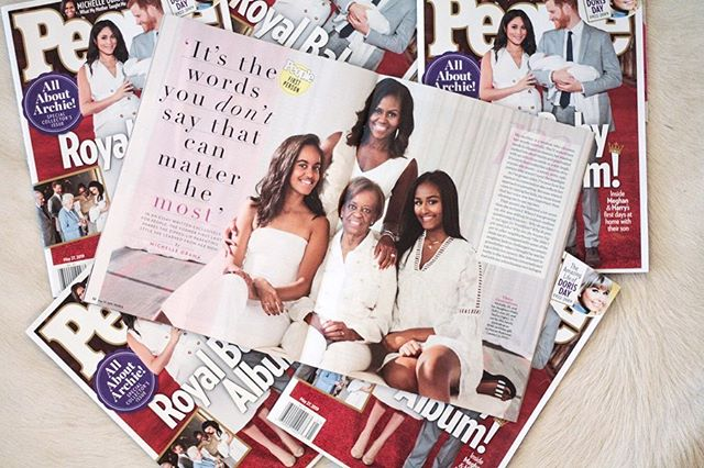 """My first @People Magazine debut! I look sooooo dainty and shiny 💁🏻♀️💅🏻.... And by me, I mean my """"Original Martha's Vineyard Necklace"""" on Sasha Obama's neck 😊😊😊"""