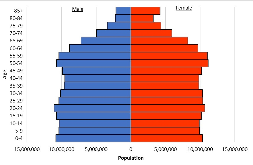 Figure 2. US Population Distribution 2015      Source: US Census Bureau, 2015 Population Estimates.   https://www.census.gov/population/projections/files/natproj/detail/d2011_20.pdf