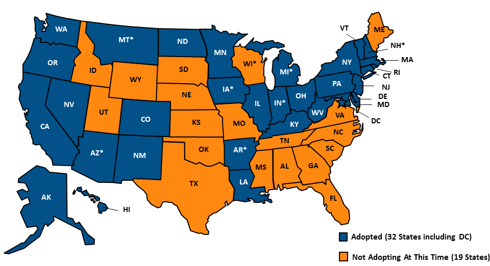 """figure 2. adoption of state medicaid expansion, october 2016.  source: """"status of state action on medicaid expansion decision,"""" kff state health facts, updated october 14, 2016.  http://kff.org/health-reform/state-indicator/state-activity-around-expanding-medicaid-under-the-affordable-care-act/"""