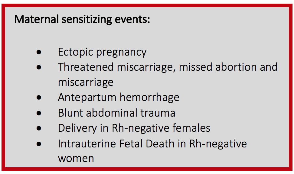 Figure 2 - Maternal sensitizing events