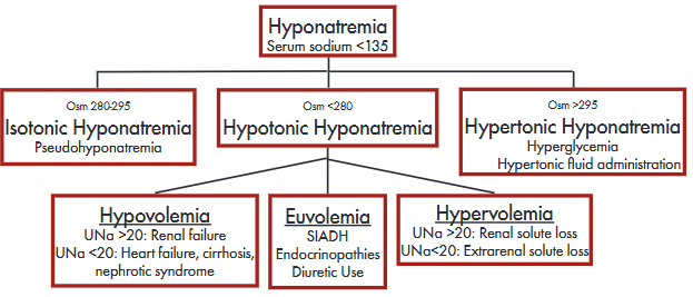 figure 2: a graph depicting the different classifications and etiologies of hyponatremia based on tonicity and volume.