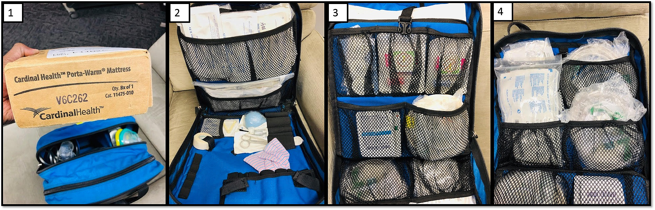 Pediatric Pack: Compartments 1-4 above, start from THE front of the pack and go the the back.
