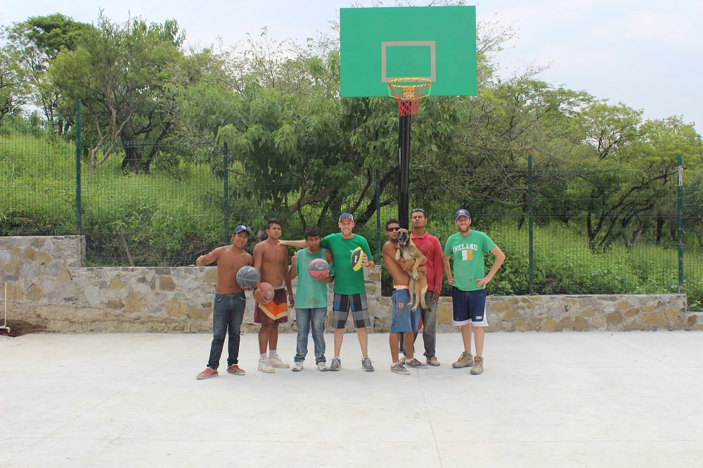 The basketball court with our youth.