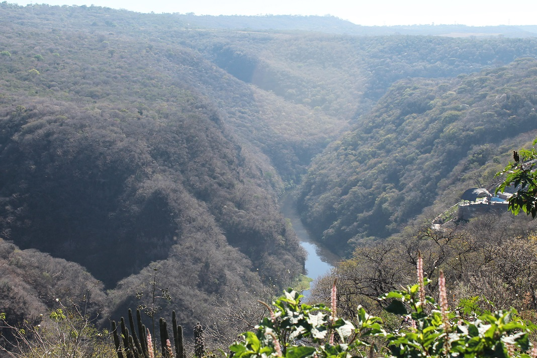The view of the gorge and river from the land.