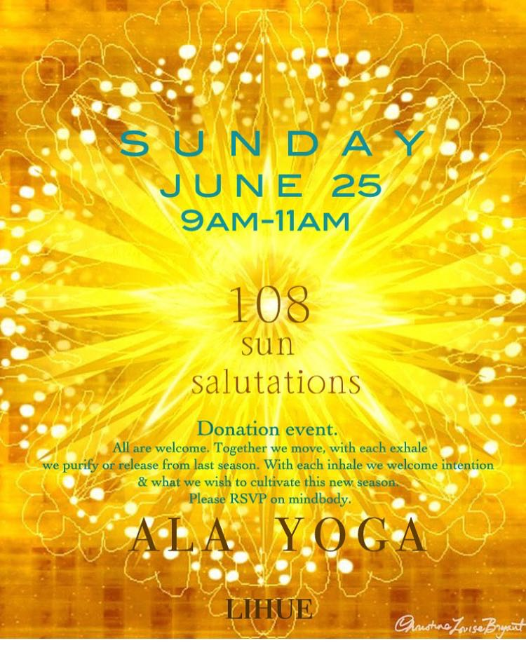 I am excited to be a part of a DONATION ONLY event THIS SUNDAY from 9-11 @  Ala Yoga . Come to celebrate the solstice, come for the yoga, come for the meditation, come to meet all the teachers, or just come cause you're curious!
