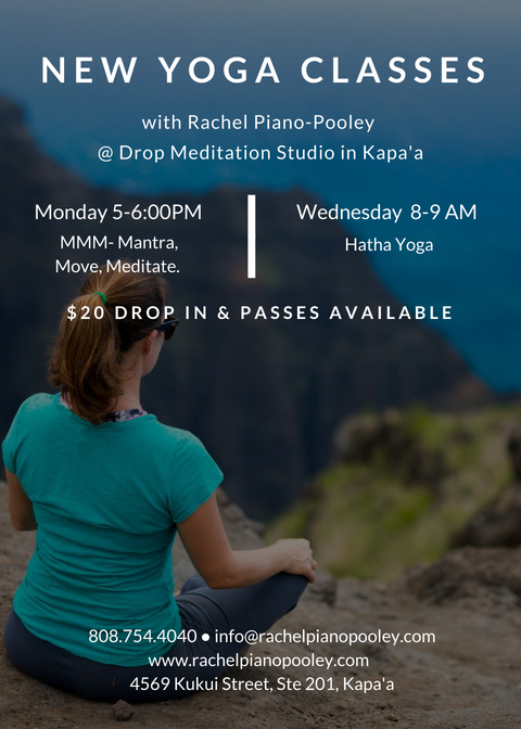 She's BACK!  I am excited to be teaching in Kapa'a starting  SEPTEMBER 24th! Classes will be small to allow for more personalized instruction, so contact Rachel to reserve and for more details.