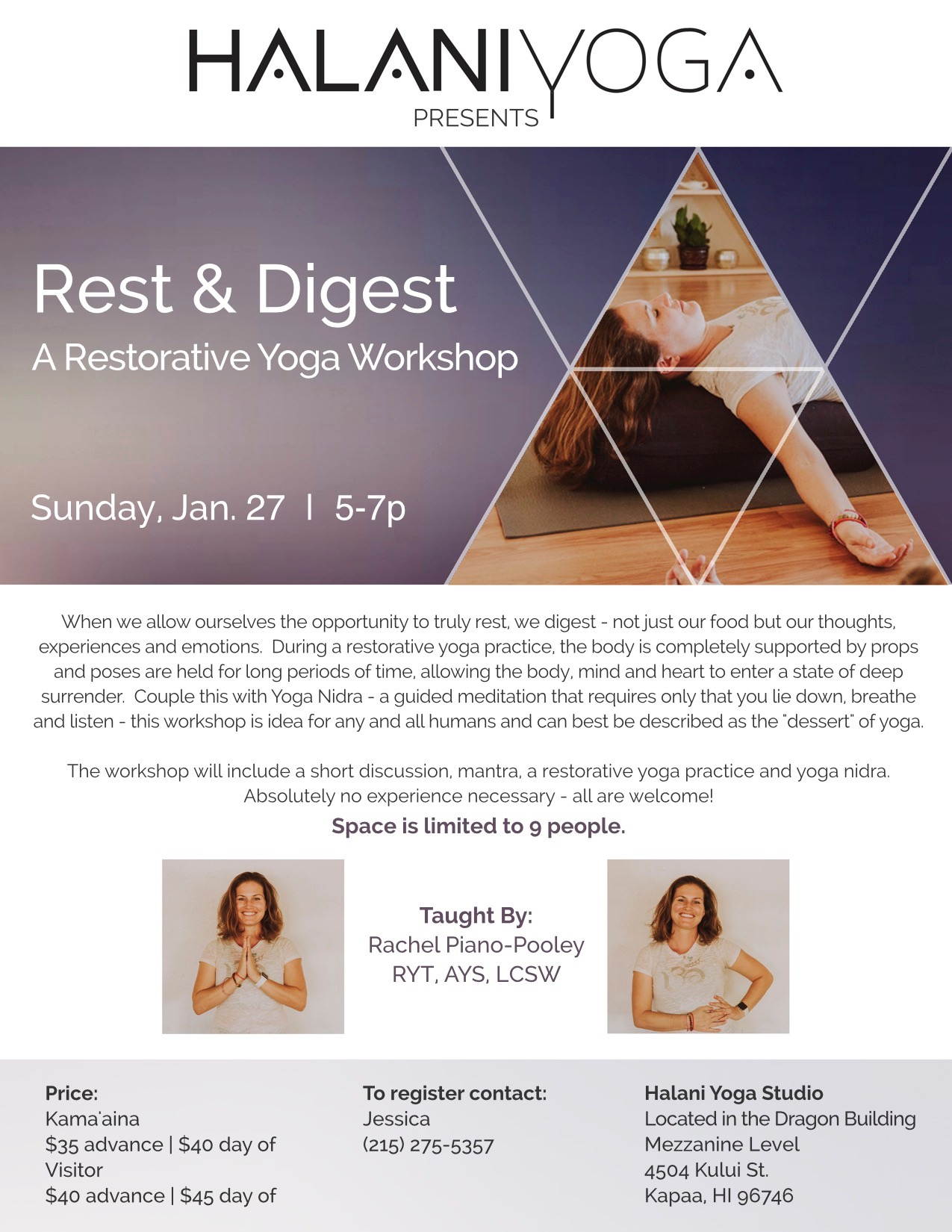 "I am VERY excited to offer space for the ""ultimate nervous system restoration package""- chant, rest, digest, and meditate, all while working on a goal/intention. Contact Jessica on the flier for more information. Space is limited!"