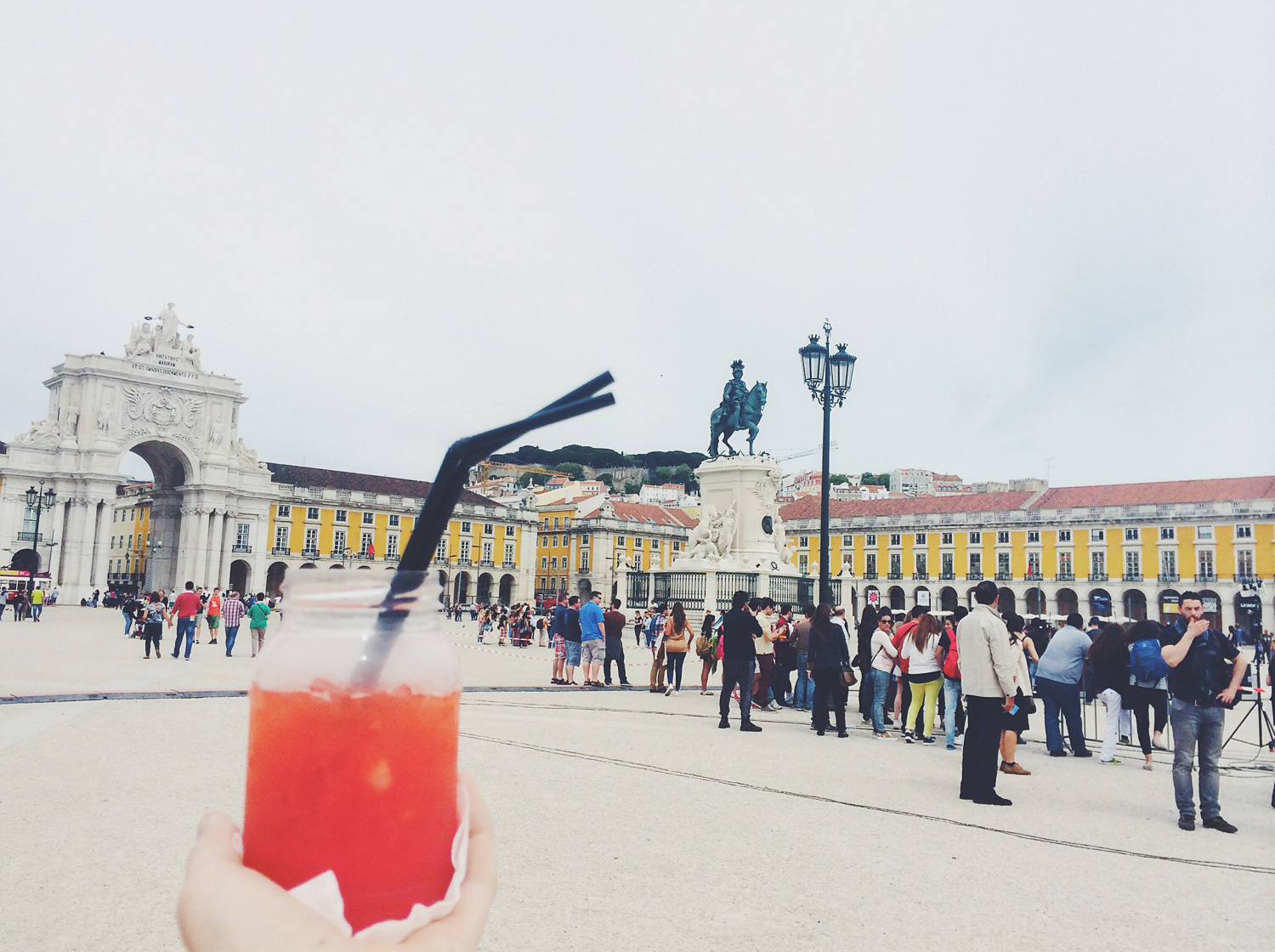 Statue of King José I (and Strawberry Caipiroska)