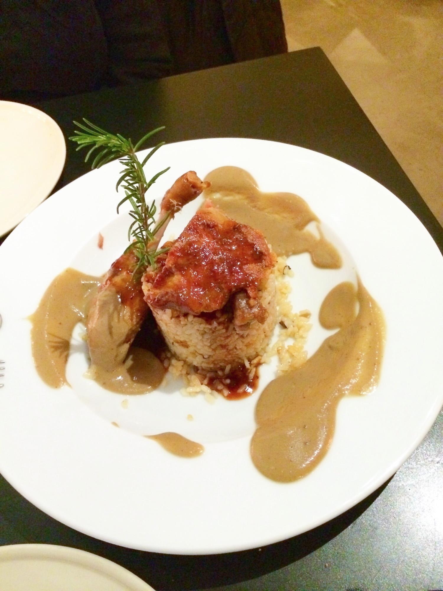 duck with crispy rice (pato y arroz cruicante)