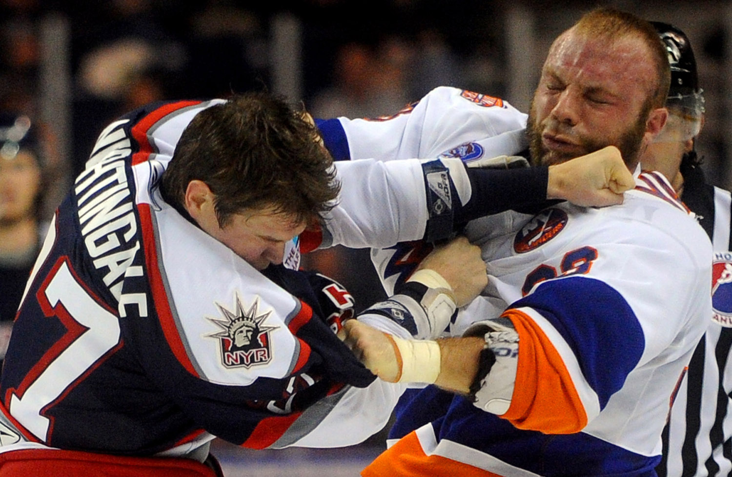 Soundtiger Jeremy Yablonski fights with Jared Nightingale during Saturday's game against the Hartford Wolf Pack at the Arena at Harbor Yard on November 6, 2010.