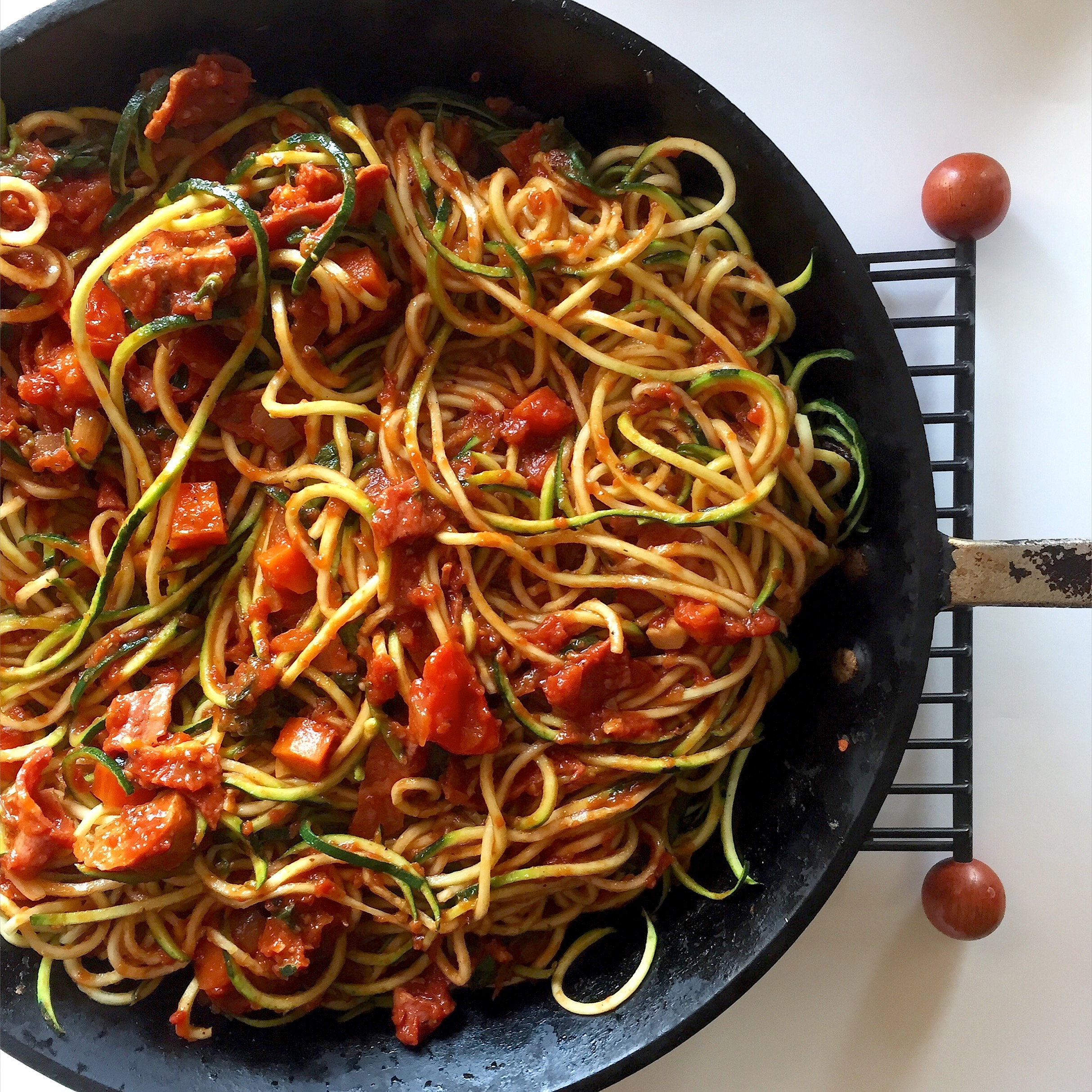 Spiralized zucchini noodles with chicken meatballs