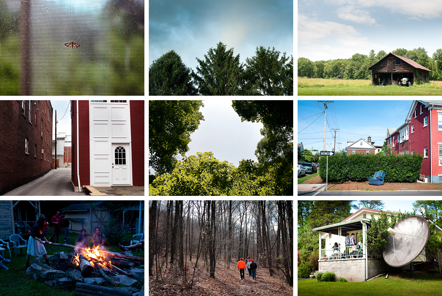 """""""Pennsylvania"""" -   (Row 1)  Moth on Screen  , Huntingdon;  Spruces at the Side of the House  , Franklin Township;  Car in the Shed,  Huntingdon; (Row 2)  Alley and White Door  , Huntingdon;  Canopy  , Huntingdon;  Recliner,  Huntingdon; (Row 3)  Stoked  , Huntingdon;  Every Fall  , Huntingdon;  View of Porch and Dead Satellite  , Huntingdon"""