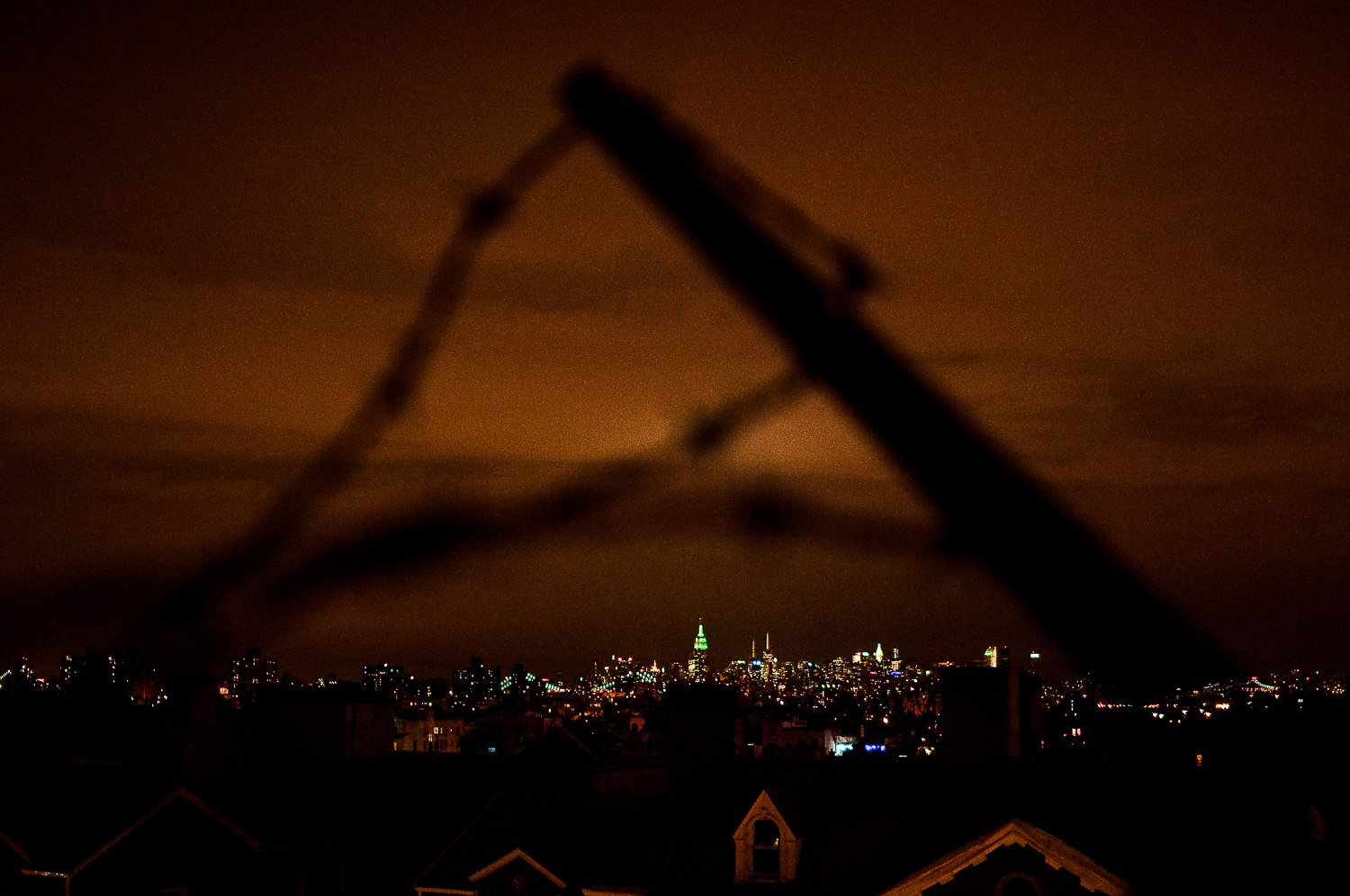 Manhattan through Barbed Wire  , Crown Heights, Brooklyn, NY