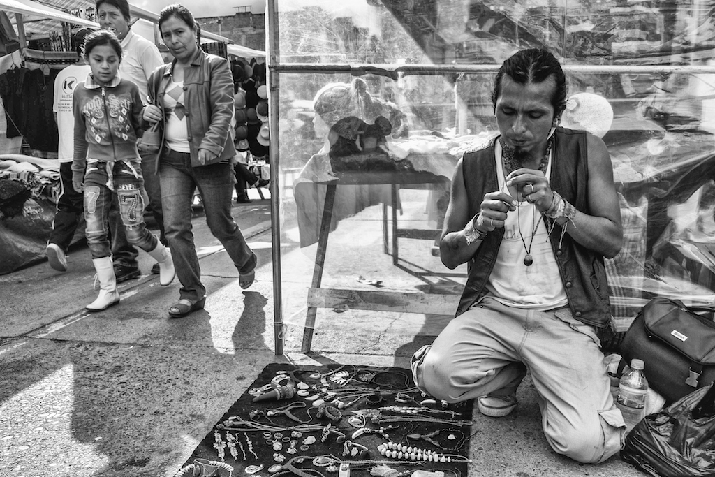 Juan Carlos with his wares at the festival