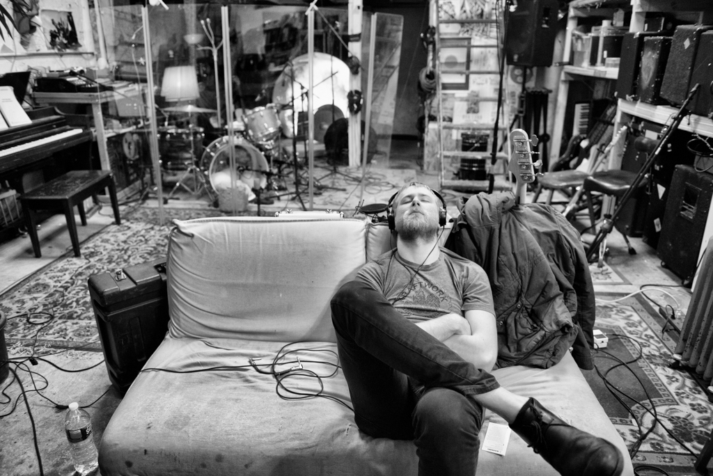 Pat Murphy of Penrose takes a break while recording at Silent Barn, a DIY studio and artist collective in Bushwick, Brooklyn