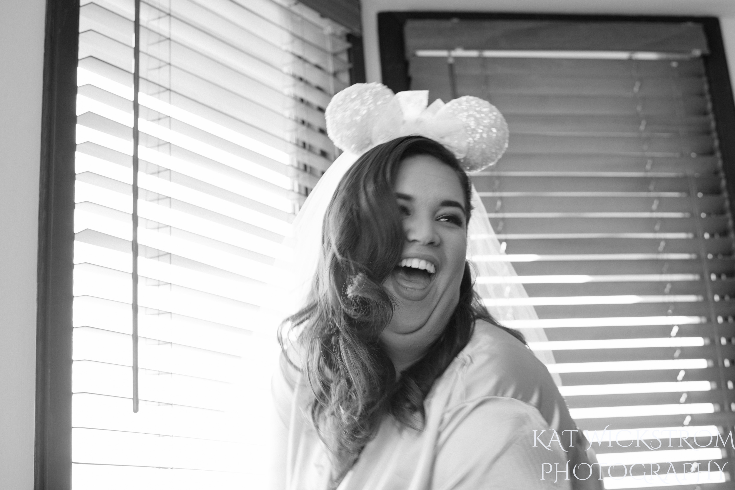 bride with disney mickey mouse ears