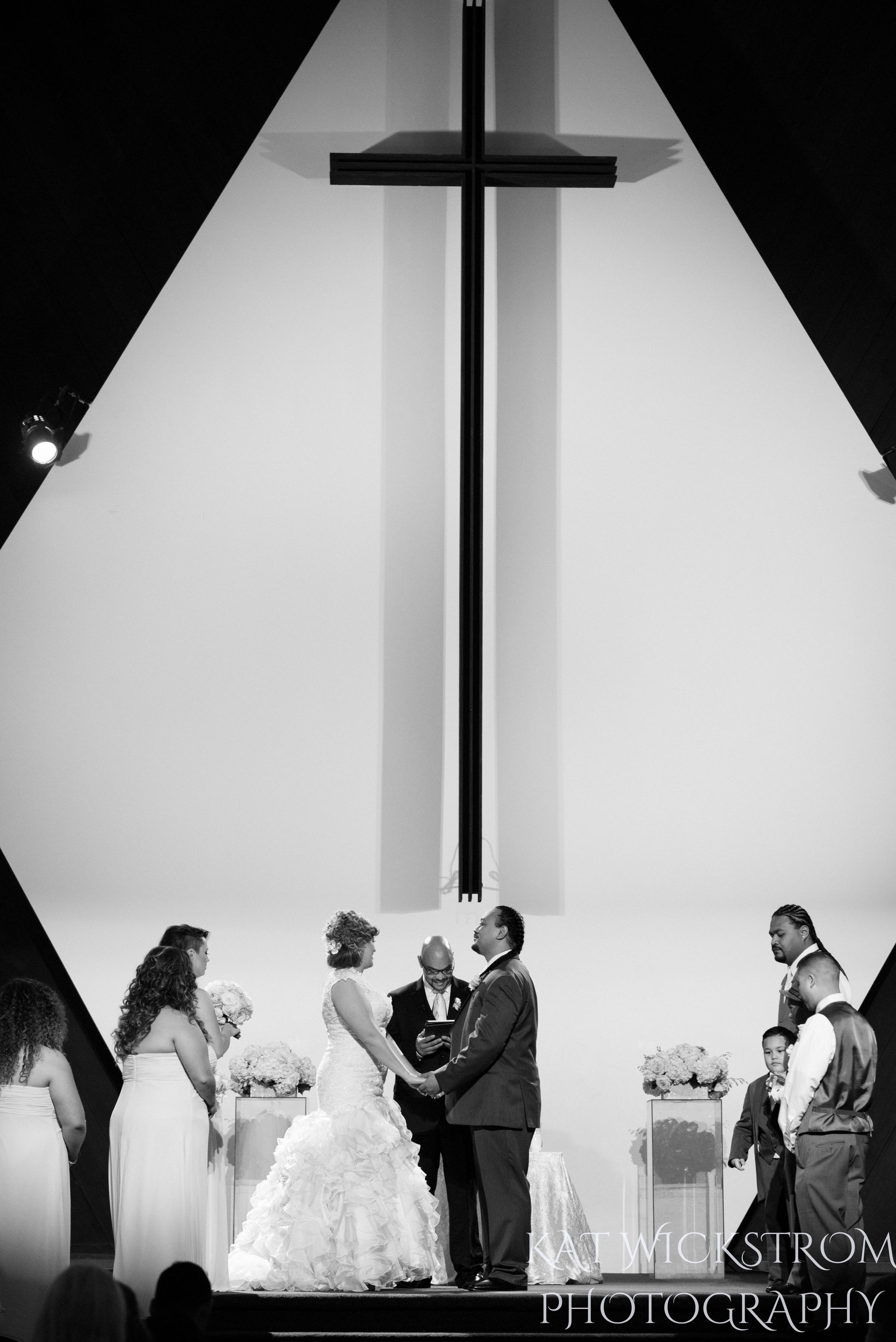 church wedding under cross