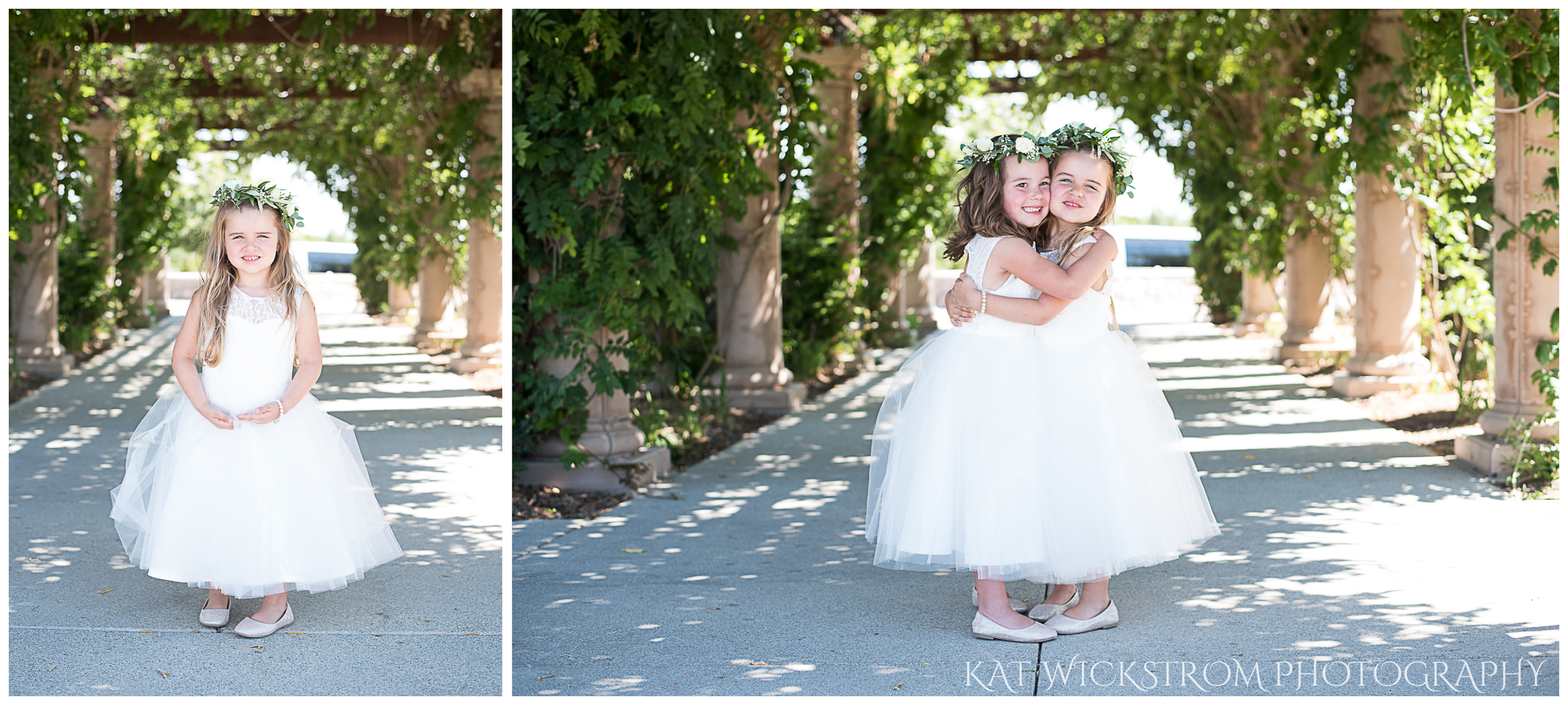 How adorable are these flower girls looking like princesses under the winery vines?!