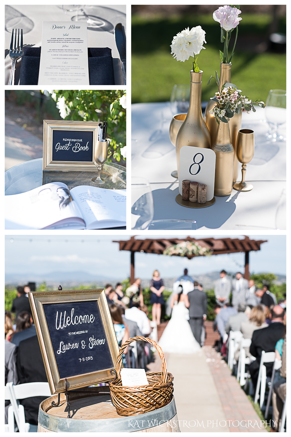 I'm in love with these wedding details. The wine bottles and vases were spray painted gold and held only a few flowers. The welcome sign was a nice touch too!
