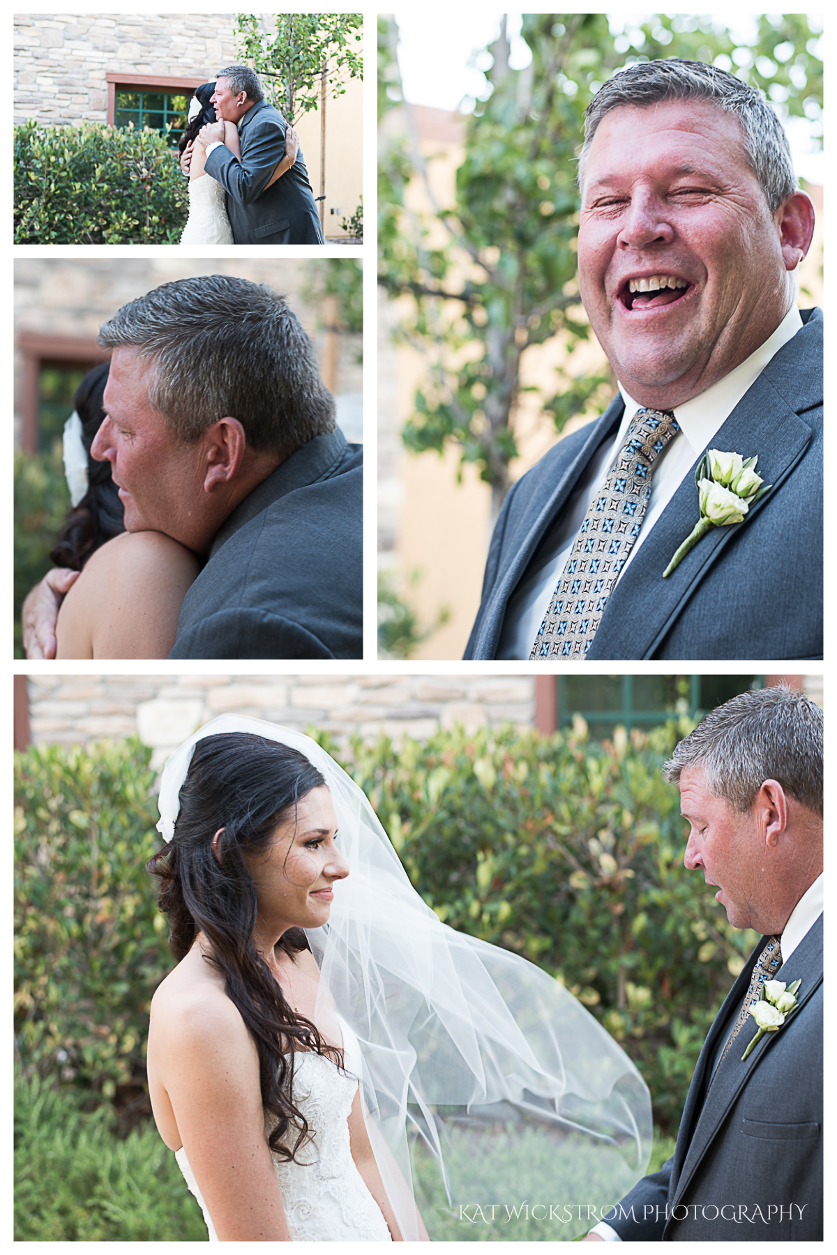 The father of the bride sees her for the first time