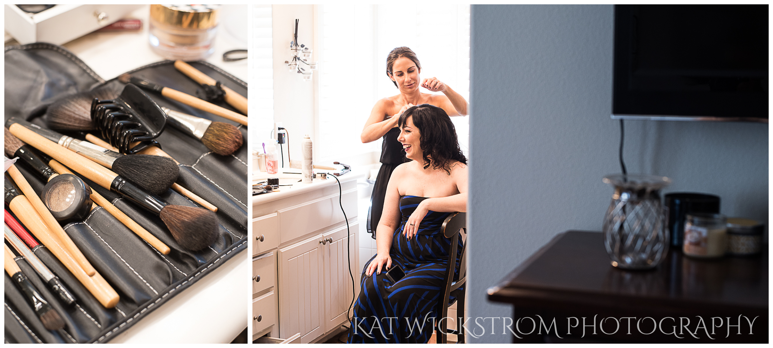 The bride got ready at her sister's home, where her sister could pamper her with all the makeup.