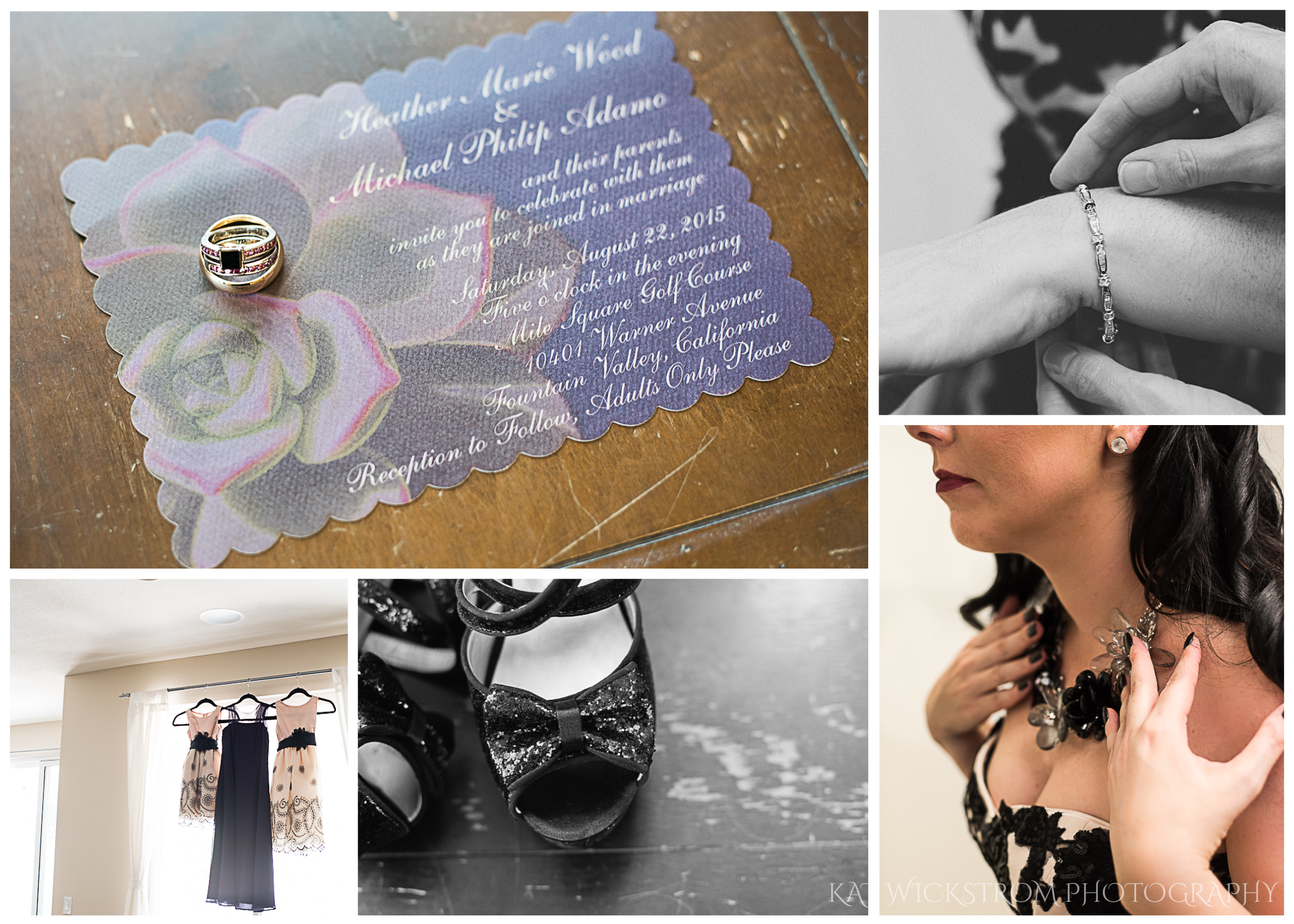 Heather had a gorgeous dark purple engagement ring, black sparkly shoes, and wonderful dark jewelry. There were two flower girls and a junior bridesmaid who had adorable outfits of their own.