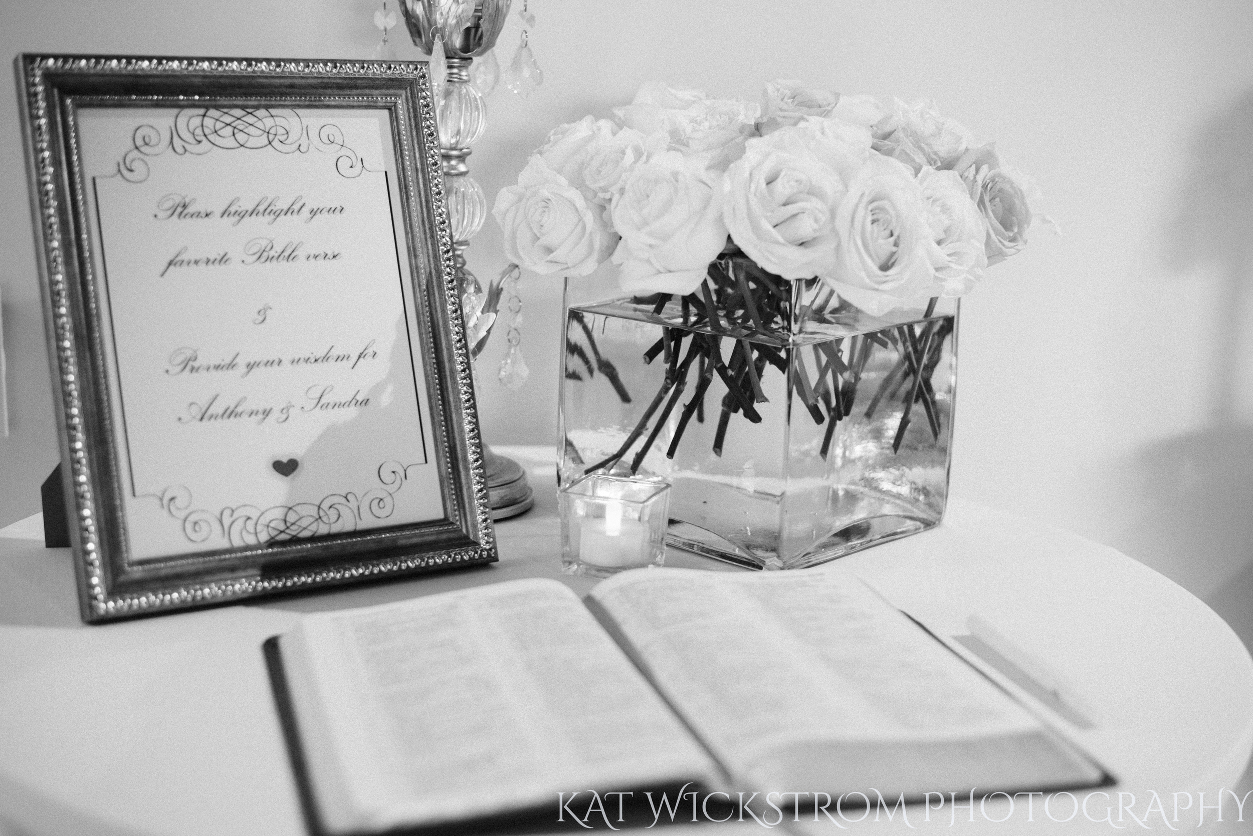 I love this greeting. The bride and groom left a bible out in front of the ceremony, asking guests to highlight their favorite passage.