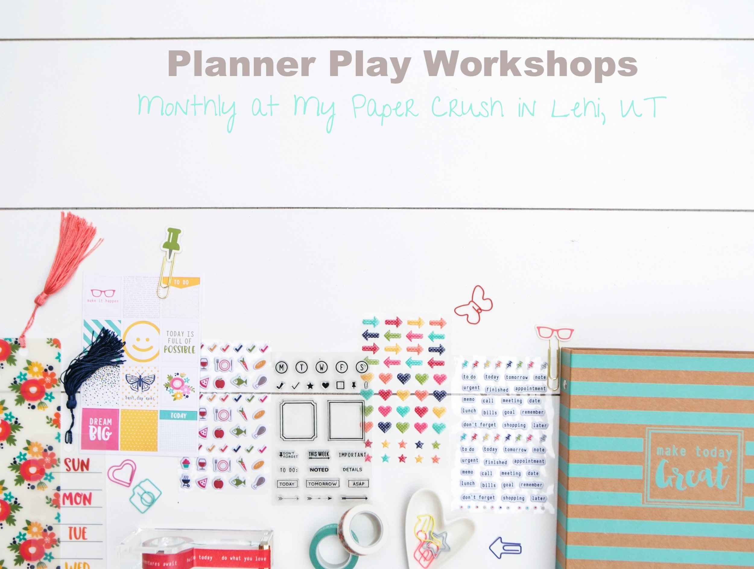 I teach monthly Planner Play Workshops in Pleasant Grove, UT. Email me for more details: meghoeppner@gmail.com