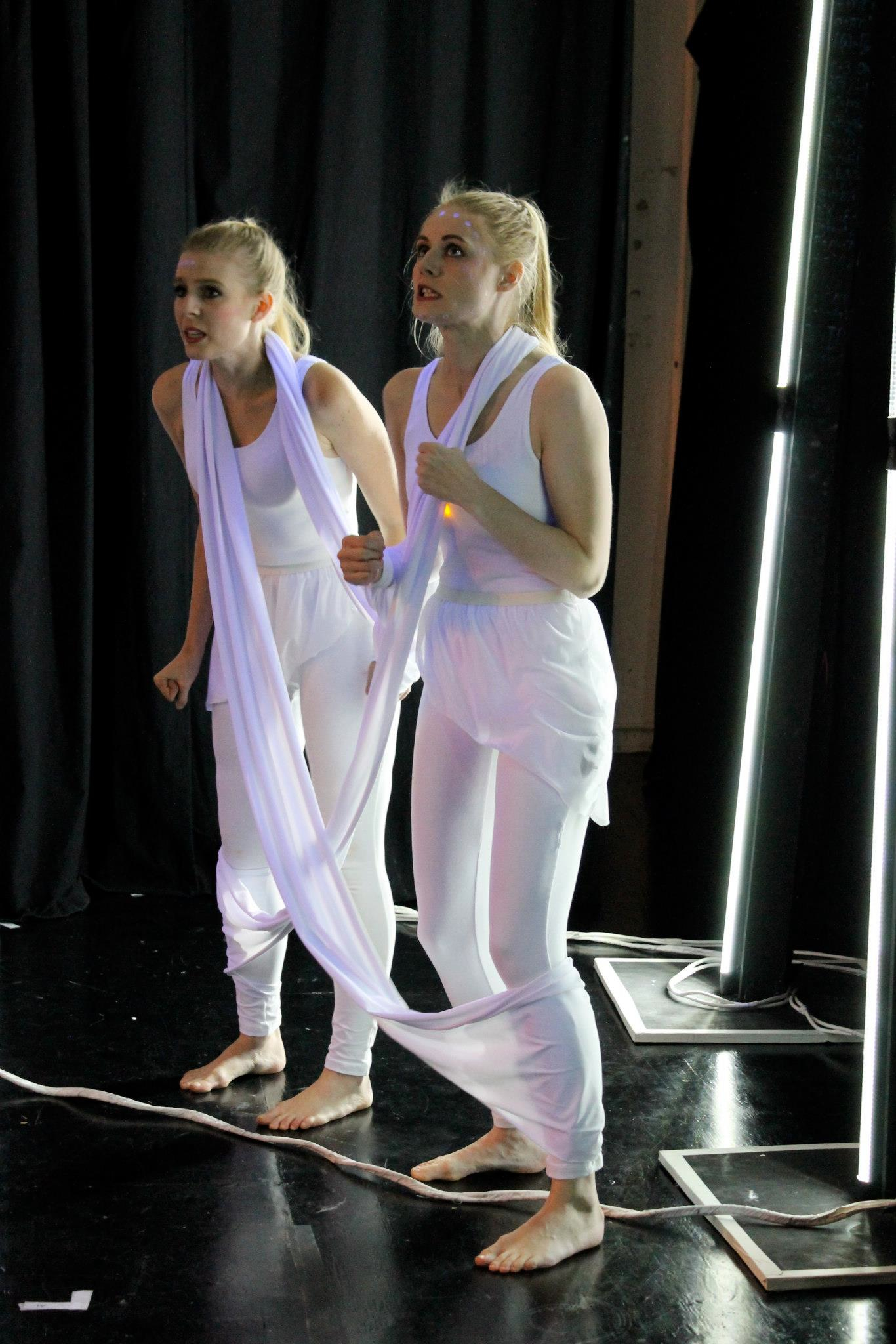 As Little Boy/Little Girl (on the right) in  Doctor Faustus Lights the Lights  at New Forms Theatre Makers in NYC