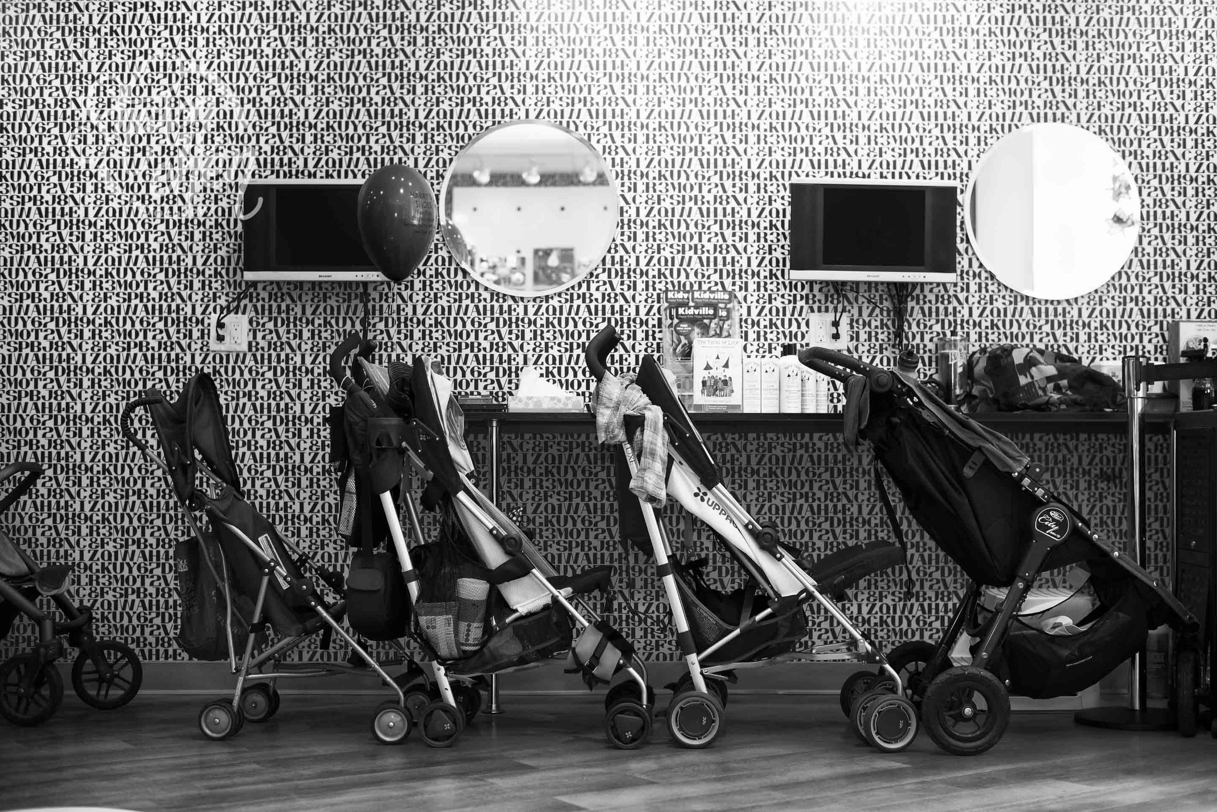 Filling up with strollers (this was just the start)
