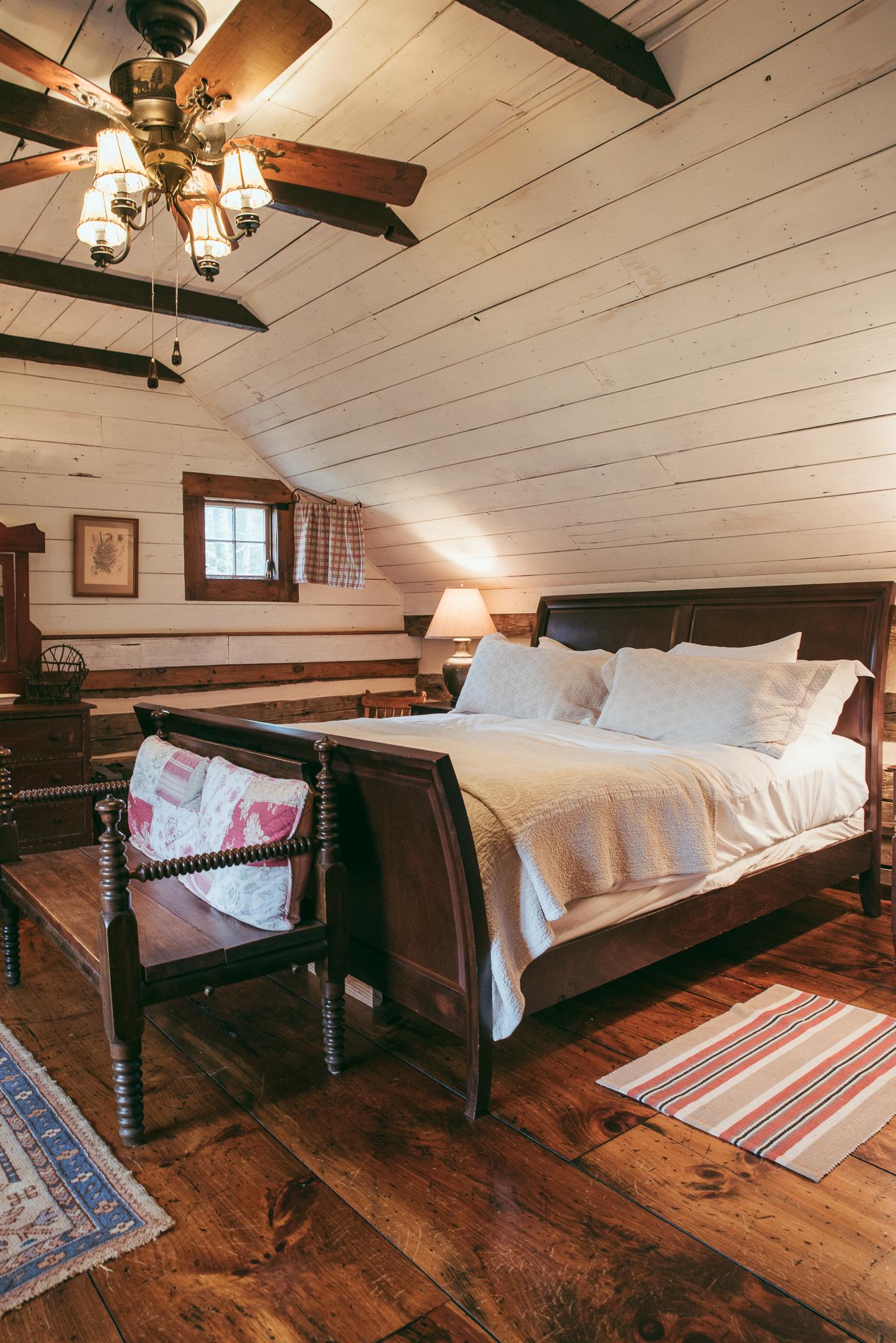 Cabin bedroom.  Photo courtesy of Half-Mile Farm.