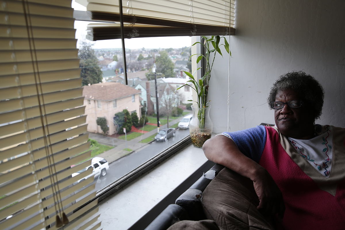 Connie Gary, 72, poses for a portrait in her apartment at the Hacienda housing complex in Richmond, California, Friday, February 6, 2015. Today it was announced that current residents of the Richmond Housing Authority owned and maintained complex would receive Section 8 vouchers to find housing as the housing complex is renovated and long-standing problems with the building are addressed.