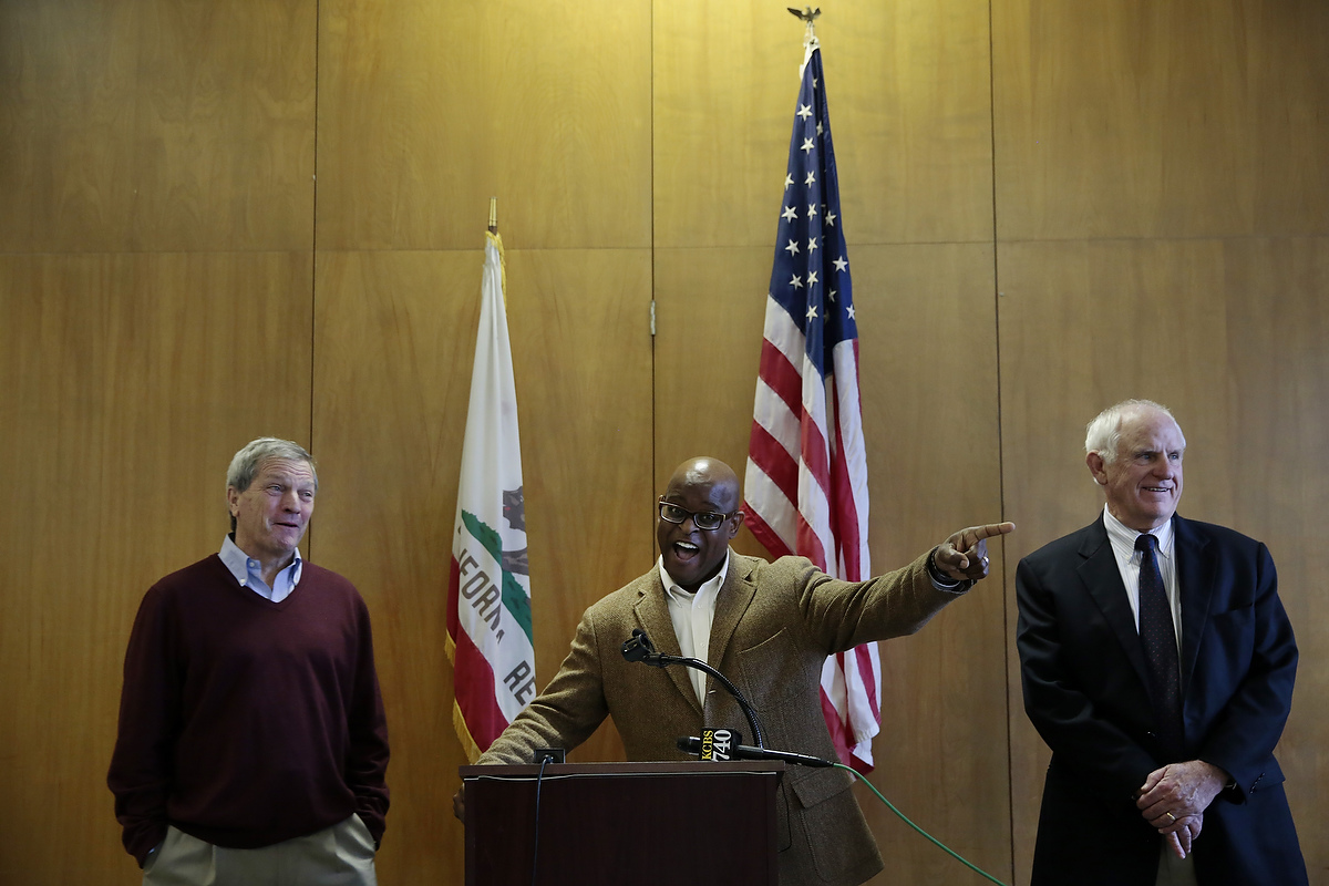 Congressman Mark DeSaulnier, left, Tim Jones, the Executive Director of the Richmond Housing Authority, and Richmond Mayor Tom Butt, during a press conference at Hacienda housing complex in Richmond, California, Friday, February 6, 2015. Today it was announced that current residents of the Richmond Housing Authority owned and maintained complex would receive Section 8 vouchers to find housing as the housing complex is renovated and long-standing problems with the building are addressed.