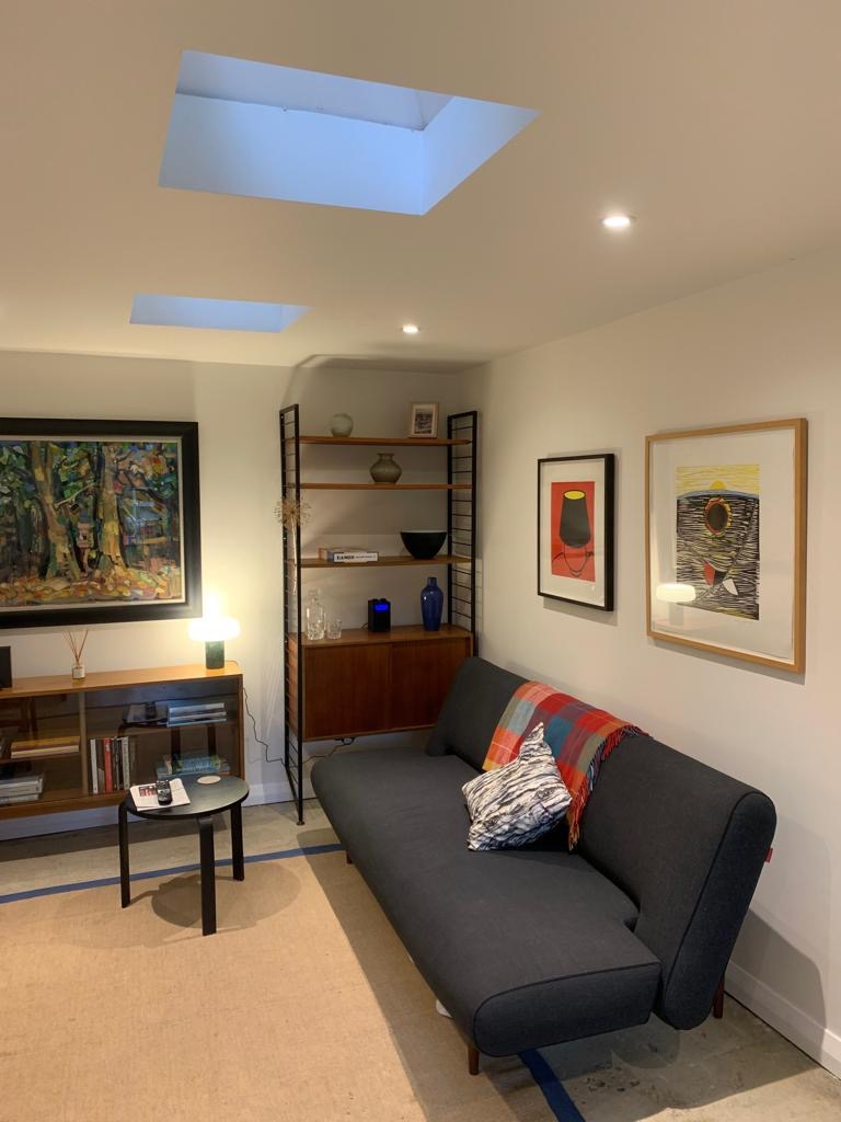 The inside of the studio has plenty of space for working from home alongside a space for relaxing -