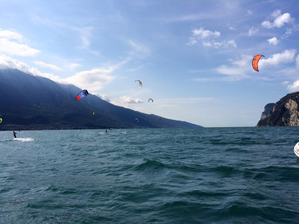 Kitesurfing on a sunny day in october