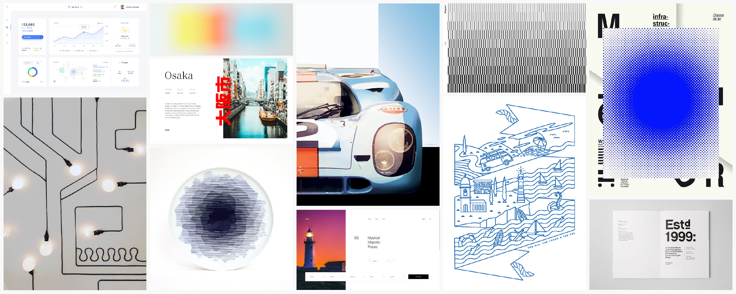 Mood-board for the website and platform. We focussed on a minimal and clean design, using heavy contrast between fonts, play with whitespace, line illustrations and graphic ways to visualise energy.