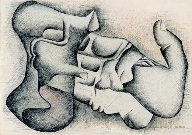 Le Corbusier (1887-1965) La main et le silex, 1950
