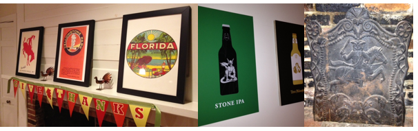 L-R: travel posters, beer art, fireback