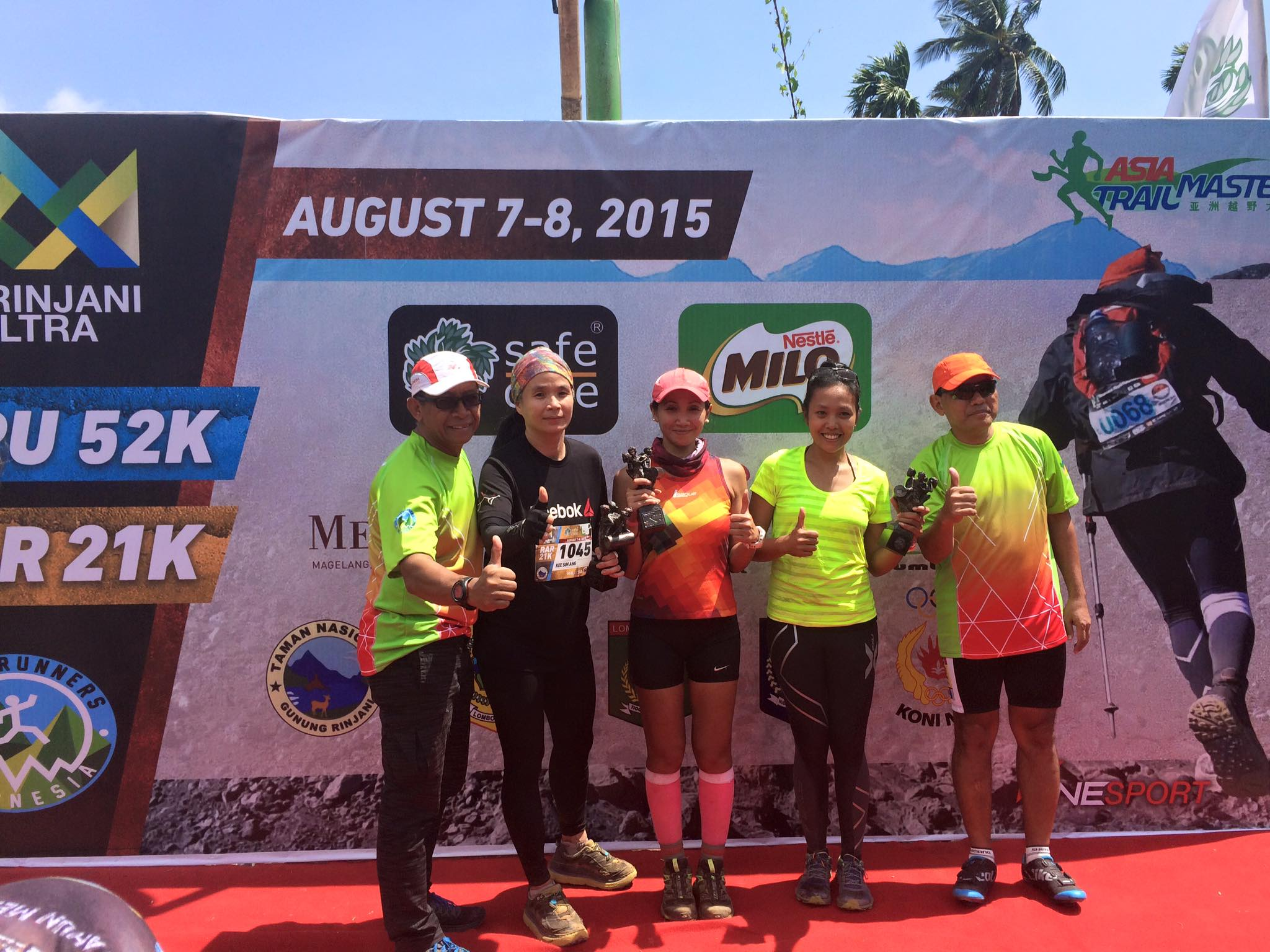 Podium of the women's RAR race with winner Ina Budiyarni in the middle.