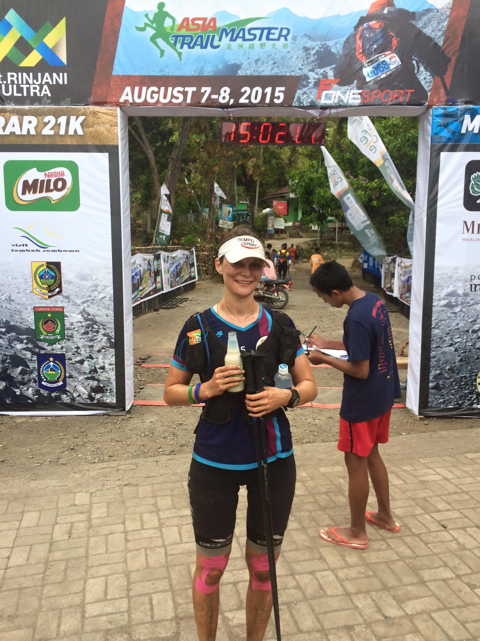 26-year-old Caroline Roehrl was the fastest woman after a rocket climb up Mount Rinjani