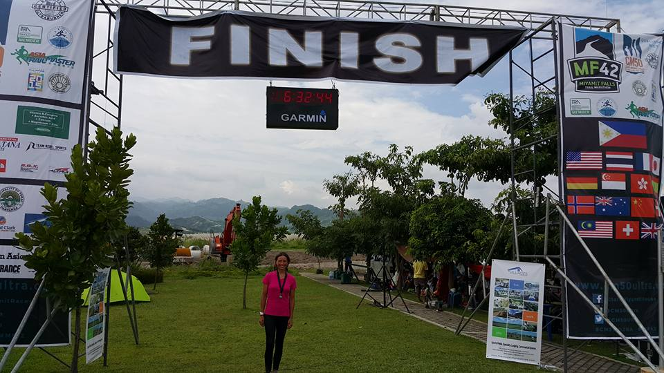 Joanna Plumbley at the finish of MF 42 on 4 October 2015.
