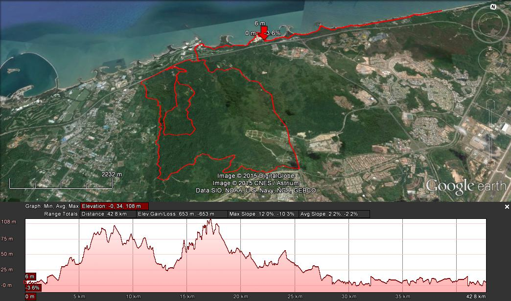The course of the 42km Beach Bunch Trail Marathon