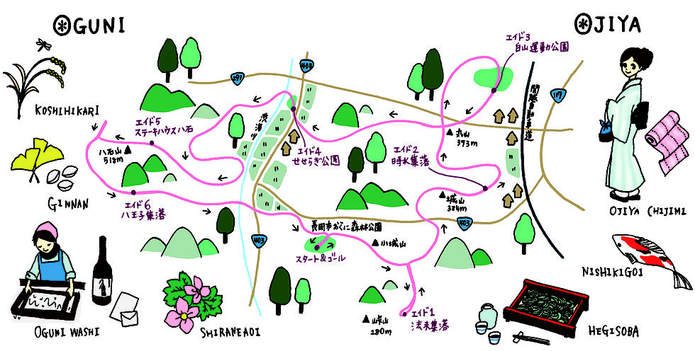 A very authentic course map for the 52k race