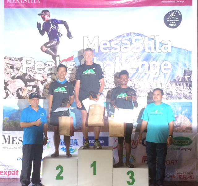 Podium of the 5 Peaks Challenge: Nilsen, Dzaki and Difinubun