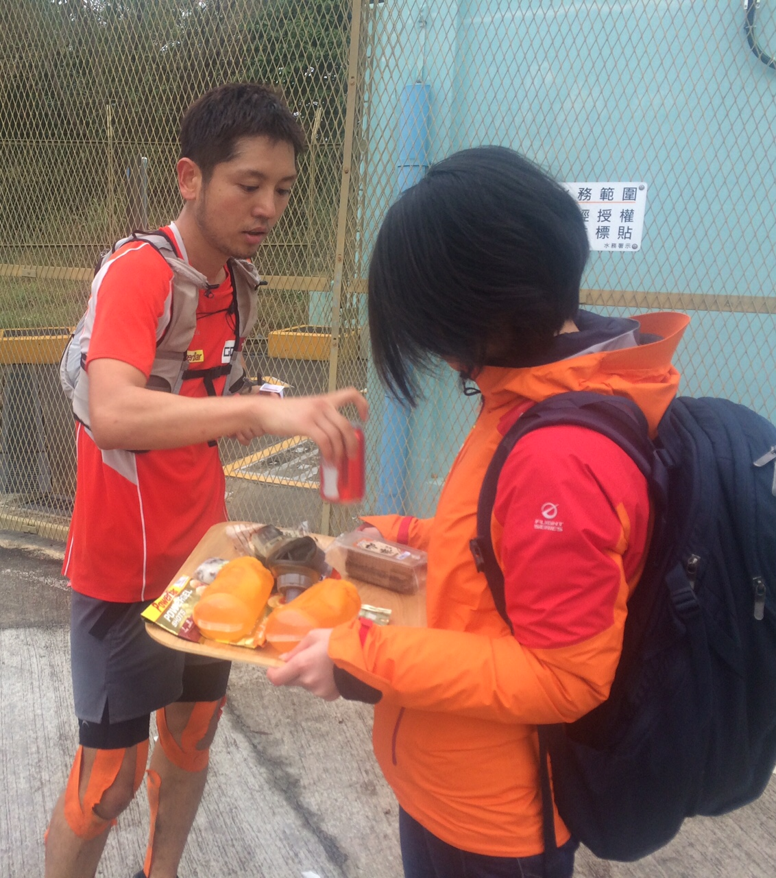 Kaito Kobayashi won the 50K, and had his private refreshment station the whole weekend